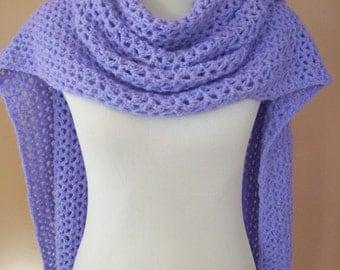 Crocheted Lacy Wrap / Shawl / Scarf / Lavender  /  Rectangular