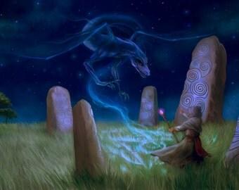 Starlight Magic 5x7 Fantasy Art Print Dragon Summoning Night Fields