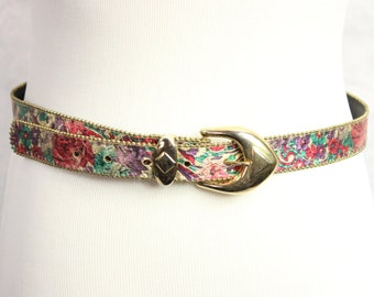 Flower Print Gold Beaded Buckle Skinny Belt 1980s Shiny Red Green Purple Medium Large