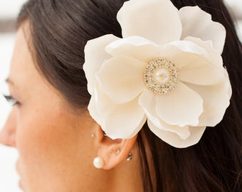 Cream off white ivory Magnolia flower hair clip with rhinestone pearl embellishment Bridal clip bride wedding accessories