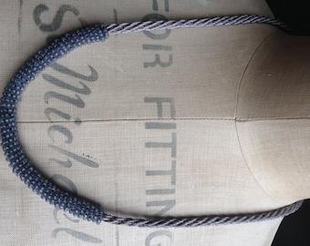 Grey Mono Crescent Necklace