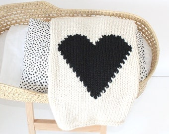 Heart Baby Blanket Cream and Black Hand Knit for Bassinet, Stroller or Car Seat