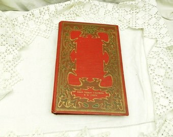 Antique French Art Nouveau Red Book Voyages du Baron de  Munchausen  The Adventures of the Baron of Munchausen / French Decor/  Steam Punk