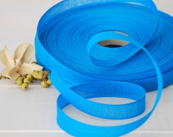 "Peacock Cotton Ribbon - 3 or 6 Yards of 100% Cotton Ribbon - 1/2"" Wide - Blue Cotton Ribon - Buy More and Save - Eco Friendly Cotton Ribbons"