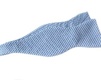 Bow Tie - Dark Blue Seersucker - Men's Self Tie - Freestyle Tie