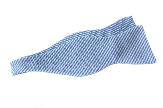 Bow Tie - Dark Blue Seersucker - Men's Self Tie - Freestyle Tie