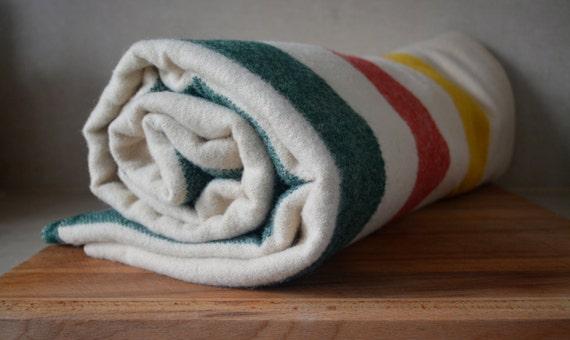 Vintage Wool L.L. Bean Maine Blanket. LL Bean Large Stripe Wool Blanket. Hudson Bay Wool Blanket. Green Red Yellow Stripes.