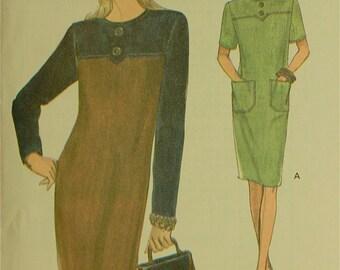 "Dress, Contrast Yoke & Sleeves -  1990's - Vogue Pattern 8713  Uncut  Sizes 8-10-12  Bust 31.5-32.5-34"""