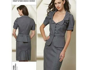Jacket, with Peplum & Skirt by Rebecca Taylor - 2010's - Vogue Pattern 1169  Uncut   Size 6-8-10-12   Bust 30.5-31.5-32.5-34""