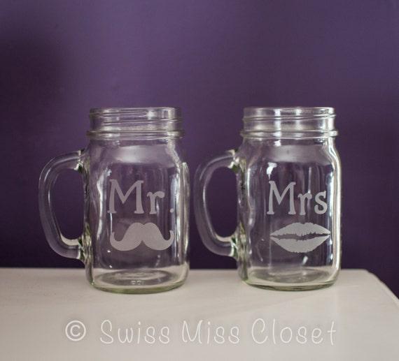 Set of 2 Mr. & Mrs. Custom Etched Handled Mason Jar To Go Cups 16oz Eco Friendly