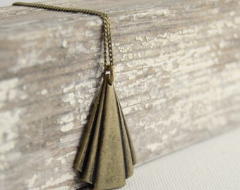 Triangle bronze necklace. Bohemian long necklace