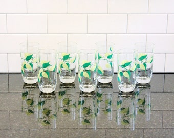 Leave Me Be… Set of 7 Vintage Drinking Glasses; Vining Leaf Pattern in Green and Chartreuse - Coolers, Tumblers