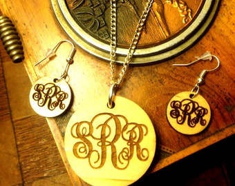 Round Wooden  Monogrammed Necklace and Earring Set  **Ships in 3-5 Days**