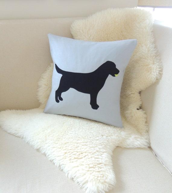 Black Lab With Tennis Ball Pillow Cover Labrador