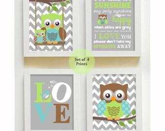 You are my sunshine - Nursery Decor - Owl Nursery Art - Love - Baby Boy Room Decor - Print set