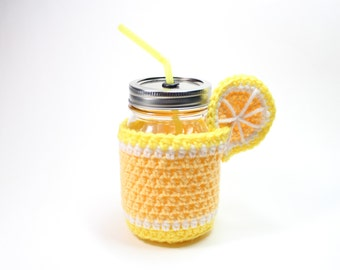 Lemon Mason Jar Tumbler, Crochet Mug Cozy With Cup, Drinking Glass Set, Lemonade Smoothie Jar, Party Pint Glass, Housewarming Gift Set