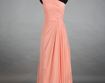 One Shoulder Bridesmaid Dress, Peach Pink Chiffon Bridesmaid Dress, Wedding dress, Formal dress, Prom dress Floor Length