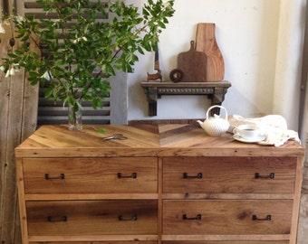 8 Drawer Barn Wood Dresser Chestnut Oak Pine Pallet Rustic Modern Chevron