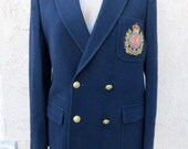 Vintage early 60's prep school navy blue wool dbl breasted jacket blazer sz 36 preppie Mad Men