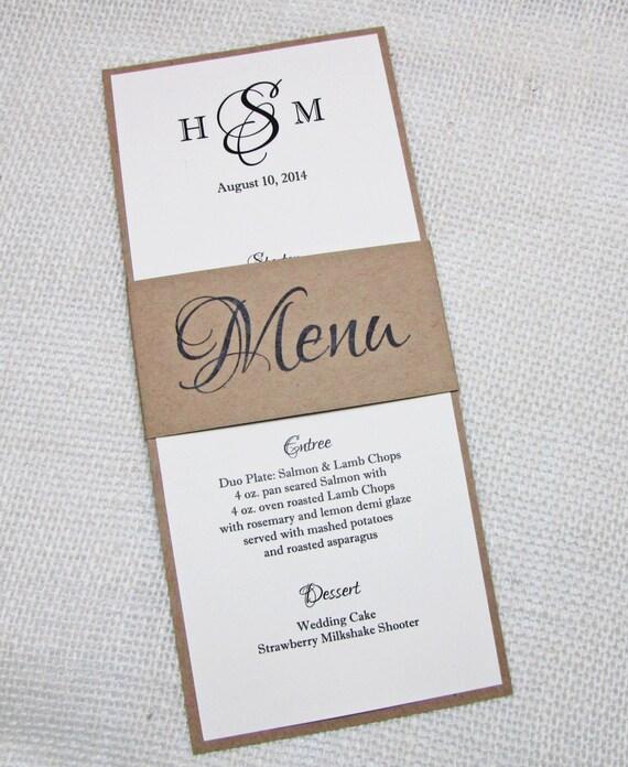 Matrimonio Rustico Elegante : Articoli simili a matrimonio rustico elegante menu