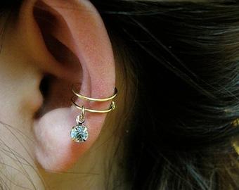 Crystal Ear Cuff - gold or silver