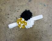 Navy Mustard Chevron Polka Dot Rosette Shabby Chiffon Flower Elastic Headband