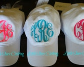 MONOGRAMMED Hat Available in Khaki, Navy, Black, White, Red, Royal Blue, Maroon, Purple, Bright Orange, Carolina Blue & Pink-Monogrammed Cap