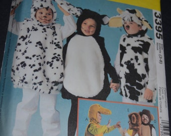 McCalls 3395 Children's  Dalmation, Cow, Cat  BEar Costumes Sewing Pattern - UNCUT -  size 3-8