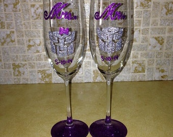 Mr. & Mrs. Autobot wedding champagne flute