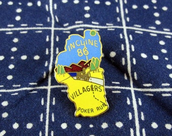 Vintage Incline Villagers Motorcycle Club Poker Run Pin 1986