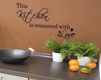 Wall Quotes This Kitchen is Seasoned with Love Vinyl Wall Decal Quote Removable Kitchen Wall Sticker Home Decor (157)