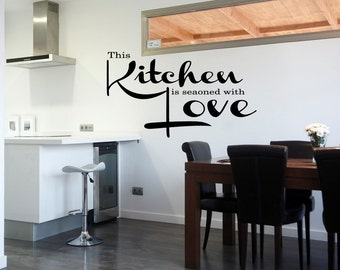 Kitchen Seasoned with Love Vinyl Quote Sticker Kitchen Decal Saying Pantry Wall Decal Kitchen Wallpaper (521)