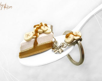 Scented Banoffee Key Chain, English dessert pie Keychain, Banoffee Pendant, Personalized Key Chain,Mini Food Accessory,Polymer Clay Keychain