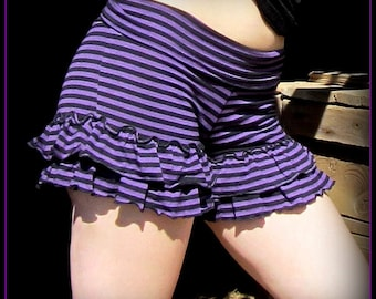 Women's Shorts with Ruffles ~ Stretchy Bloomers ~ Purple Black Gothic Stripe ~ Roller Derby Hooping, Yoga, Burlesque, Festival clothing