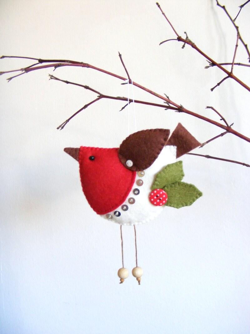 PDF pattern Felt robin. Christmas tree ornament easy sewing