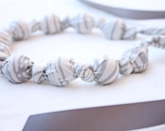 Fabric Necklace,Teething Necklace, Chomping Necklace, Nursing Necklace - Grey Zebra Stripes