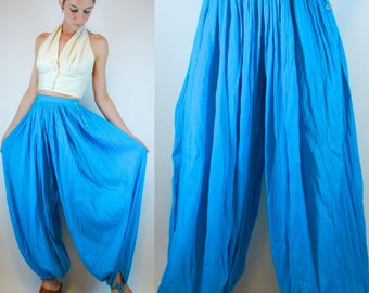 Vintage 70s GAUZE Turquoise Blue Cotton Harem balloon sheer dress Pants Hippie boho festival Palazzo Wide leg Indian Trousers. Extra Small