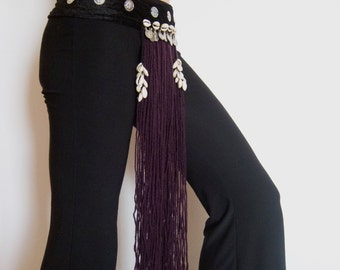 Tribal fusion bellydance belt - dark purple wool, black velvet belt with cowry shells and coins - one size - unisex accessory