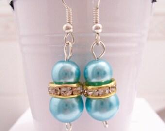 CLEARANCE - Teal blue pearl earrings - blue pearl beaded earrings - Swarovski banded earrings - teal blue glass pearl earrings - teal blue