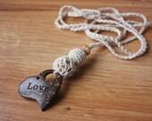Boho Babywearing Nursing Teething Crochet necklace for breastfeeding mom Sling accessories  - cream color - gift under 10