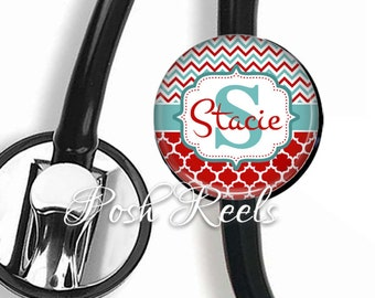 Stethoscope ID tag, Personalized Red, Teal Chevron and Quatrefoil Stethoscope Id tag - Name Stethoscope Tag - 0100