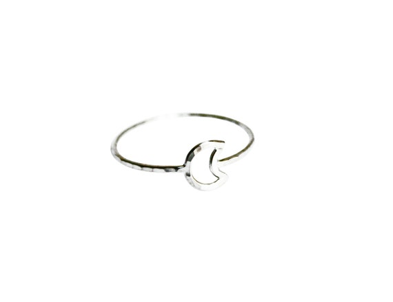 Silver Moon Ring, Crescent Moon Ring, Thin Silver Ring, Simple Silver Ring, Sterling Silver Moon, Knuckle Ring, Silver Knuckle Ring, Minimal