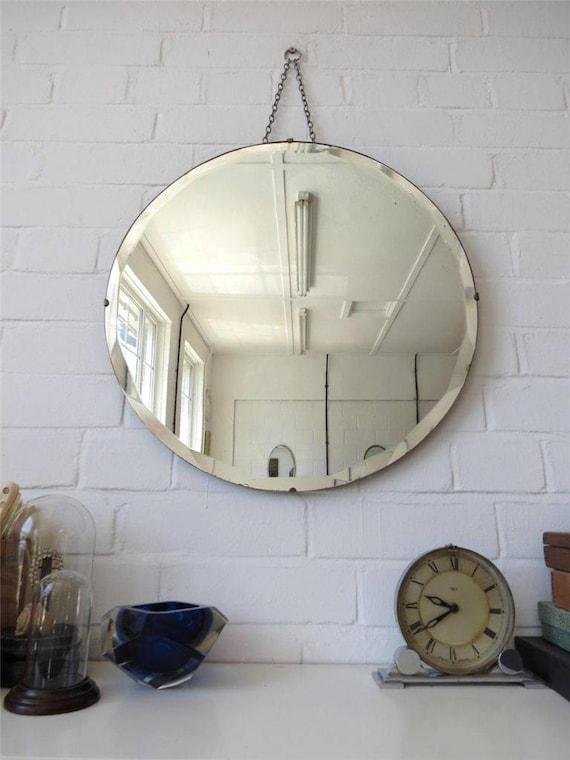 Vintage Round Bevelled Edge Wall Mirror Large Art Deco Bevel