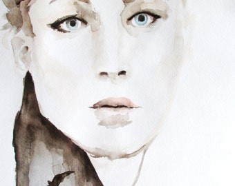 Print of Watercolor Portrait of Jennifer Lawrence Katniss in the Hunger Games 11 x 17  - Little Miss MockingJay