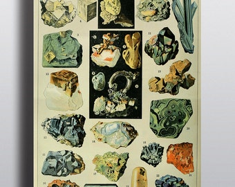 Gems Crystals Print Vintage Science Chart, Art Print, Old Book, Precious Gem Stones Minerals Rocks Wall Art Decor Colored Illustrations