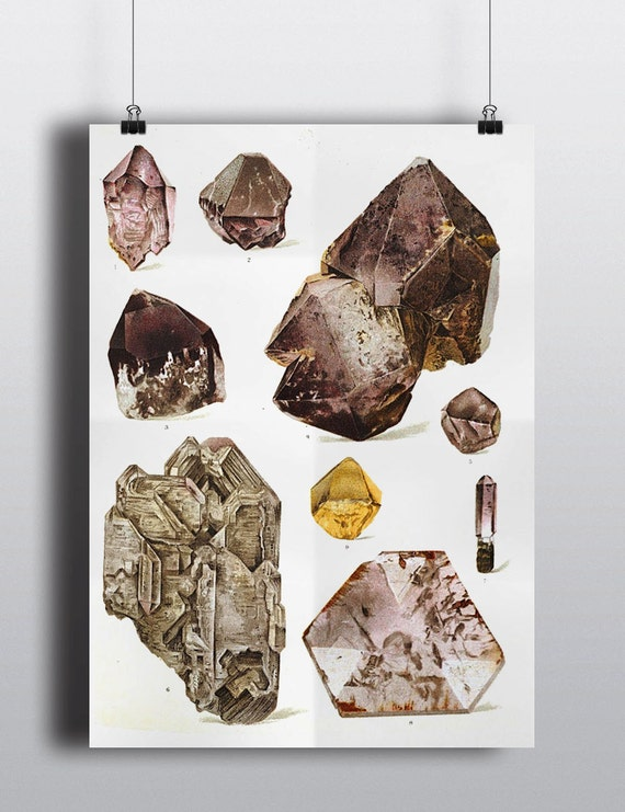 Gems crystals print vintage science chart art print old for Mineral wall