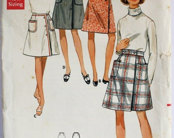 Vintage 1960s Knee-Length Button-Front Wrap Skirt Sewing Pattern with Pockets Waist 29 Butterick 5006