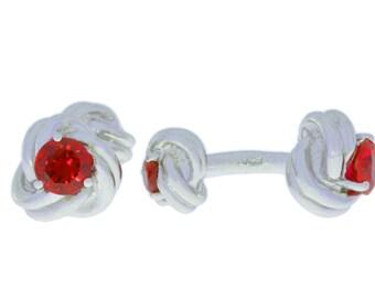 2.5 Ct Garnet Knot Cufflinks .925 Sterling Silver Rhodium Finish