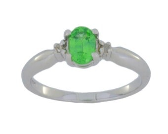 0.50 Ct Green Sapphire & Diamond Oval Ring .925 Sterling Silver Rhodium Finish