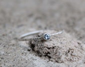 March Birthstone Stacking Ring in Sterling Silver, Aquamarine Ring